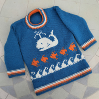 Hand knitted Woollen Child's Sweater with Whale 2-3 years