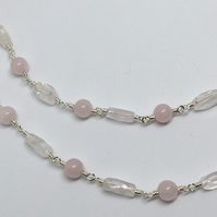 Rose Quartz Gemstone Necklace long Beaded Silver Necklace