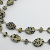 SALE! Dalmatian Jasper Gemstone Necklace Long Silver Convertible Necklace