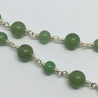 Green Aventurine Gemstone Necklace August Birthstone Silver Necklace