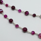 Fuchsia Pink banded Agate Necklace Gemstone Silver Necklace