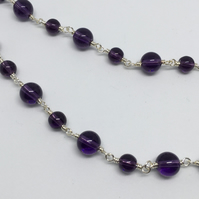 Amethyst Gemstone Necklace February Birthstone Necklace Purple Silver