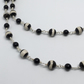 Black White striped Agate Gemstone Necklace Monochrome Silver Necklace