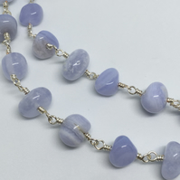 SALE! Blue Lace Agate Gemstone Necklace Long Necklace Silver