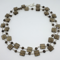 SALE Smoky Quartz Gemstone Necklace Bead Necklace Evening Wear Jewellery Silver