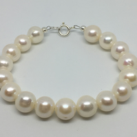 Bridal Wedding Pearl Bracelet June Birthstone Bracelet White Freshwater Pearls
