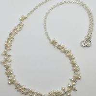 Delicate Bridal pearl Necklace Seed Pearls Silver Wedding Necklace