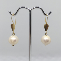 White Pearl Gold Bridal Prom earrings Freshwater Pearls