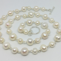 Classic white pearl bridal necklace silver plated freshwater pearls