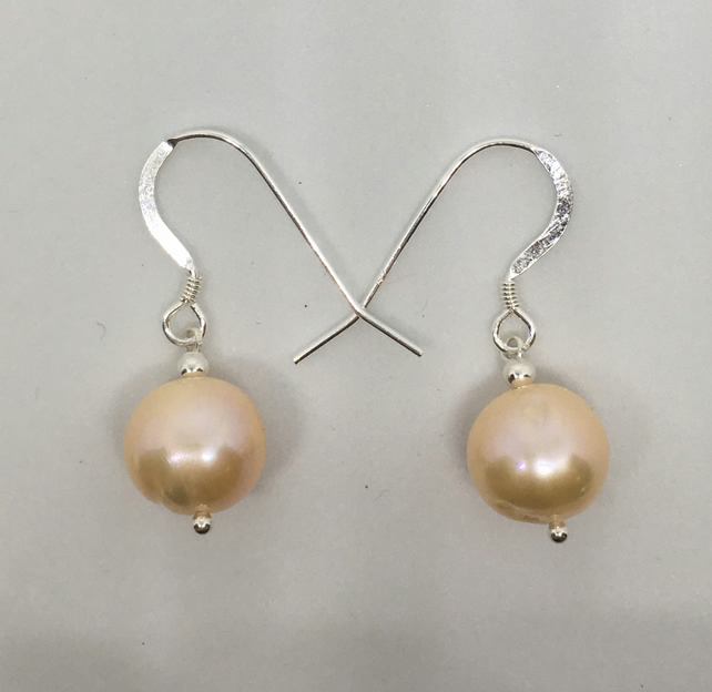Bridal Champagne Peach Pearl Earrings Freshwater Pearls Sterling silver