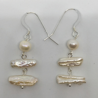 White Pearl Drop Earrings Freshwater cultures pearl summer earrings