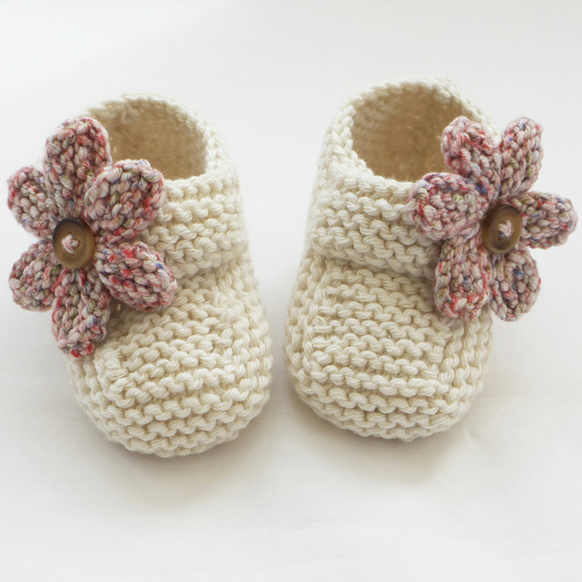 Hand Knitting Patterns For Babies : Hand Knitted Baby Shoes-Booties - Folksy