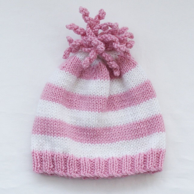 07337596a37 Hand Knitted Baby Hat - Folksy