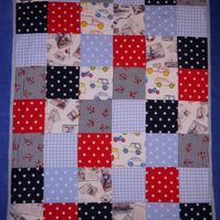 Patchwork quilt for girl or boy ... Nautical, cars, bikes, stars, stripes, boats