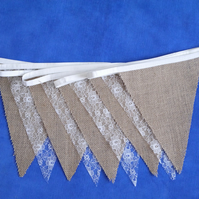 10ft (3m) Hessian Burlap & Lace Bunting