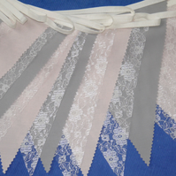 50ft (15 metres) Blush Pink, Pale Grey and Ivory Cream Lace Wedding Bunting