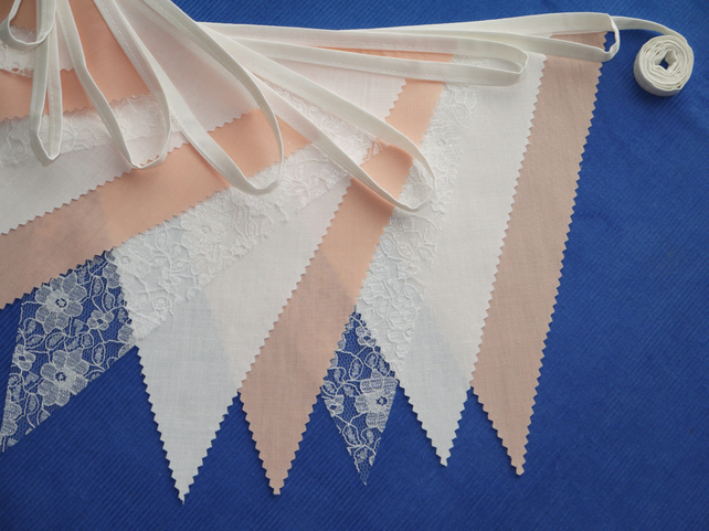 50ft (15 metres) Peach fabric and lace wedding or party Bunting