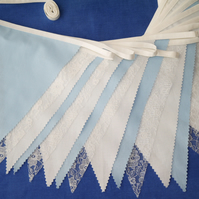 50ft (15 metres) Pale Blue fabric and lace wedding or party Bunting
