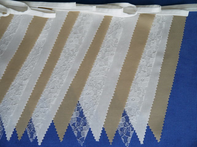 50ft (15 metres) Pale brown fabric and lace wedding or party Bunting