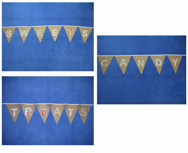 Hessian Burlap wedding or Party Bunting available options: SWEETS, CANDY, TREATS
