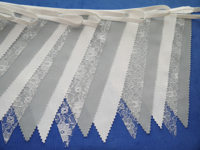 50ft (15 metres) Pale Grey fabric and lace wedding or party Bunting