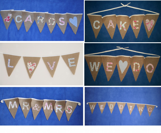Hessian Burlap wedding or Party Bunting options: CARDS, CAKE, MR & MRS