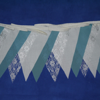 50ft (15 metres) Teal fabric and lace wedding or party bunting