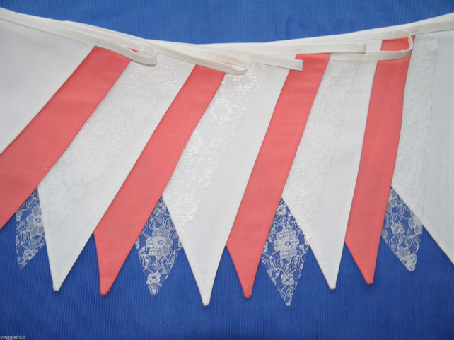 30ft (10m) DOUBLE SIDED CORAL and CREAM fabric lace Bunting wedding party