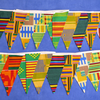 African fabric bunting - Double Sided Kente Fabrics - Rustic Chic