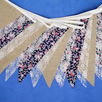 50ft (15m) Hessian Burlap, Navy Fabric and Lace Bunting