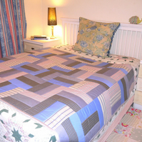 Patchwork quilt in Rail Fence design for Single or Double bed
