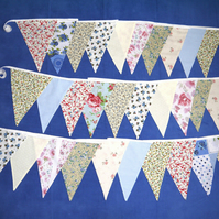 Rustic Double Sided Fabric Bunting - So Cottage Vintage Chic