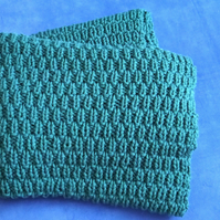 Handmade rustic knitted throw in teal