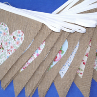 50ft (15m) Hessian Burlap Bunting WITH HEARTS
