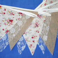 10ft (3m) Hessian Burlap, Old Rose fabric  and Lace Bunting