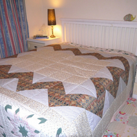 Patchwork quilt with Liberty Ianthe Tana Lawn fabric, for Single or Double bed