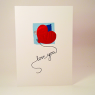 Greeting Card - I love you heart balloon Valentine Card - love card