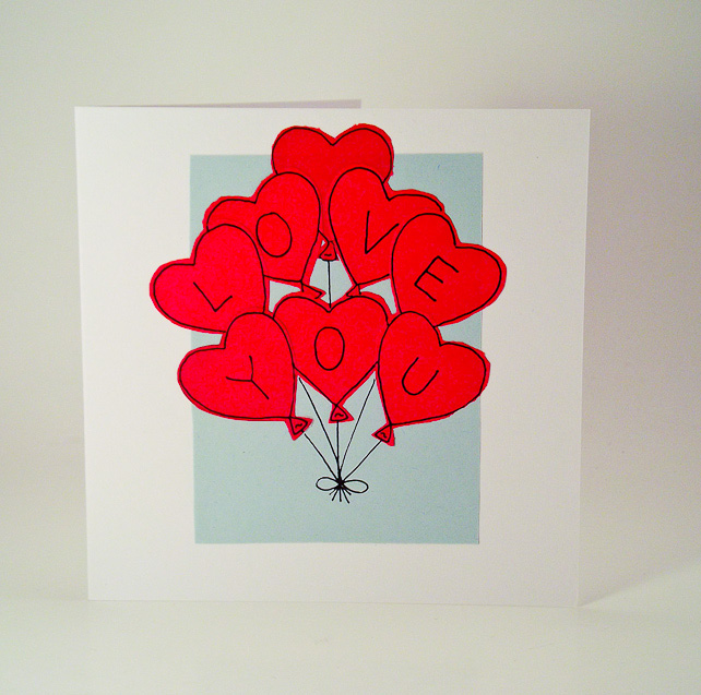 Greeting Card - Valentines Card Love You Heart Balloons - Love card