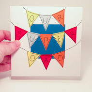 Greeting Card - Our Super Dad Bunting Handmade Father's day or Birthday Greeting