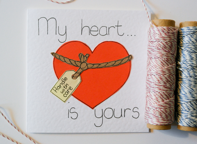 Handmade Valentine greeting card, Cute red love heart card, Anniversary card