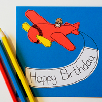 Greeting Card Aeroplane Greeting Card, Birthday Plane Card