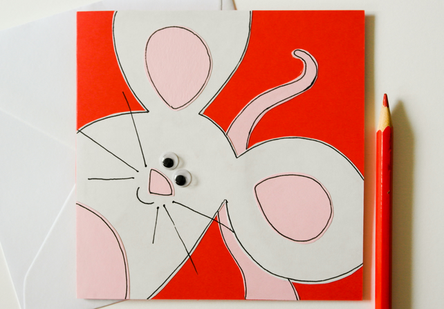 Cute Little Mouse Handmade Greeting Card