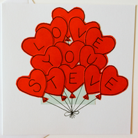 Personalised Valentines Balloons Handmade Greeting Card