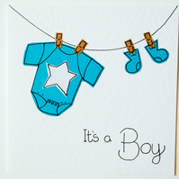 Greeting Card - It's a Boy Handmade Greeting card -  New Baby