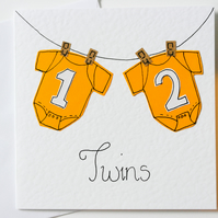 Greeting Card - Twins Handmade Greeting card - Twins New Baby Card
