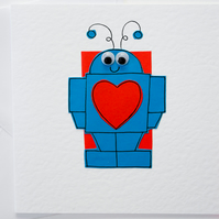 Valentines Robot Handmade Greeting Card, Love card, Anniversary card