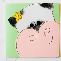 Greeting Card - Cute Cow Handmade Greeting Card