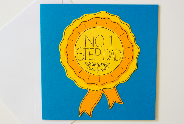 Greeting Card No 1 Step-Dad... Birthday Card, Fathers Day Card - New StepDad