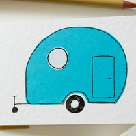 Note Cards Pack of 6 - Vintage Blue Caravan Note Cards - Greeting Card 6 Pack