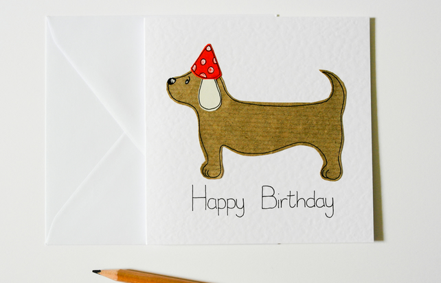 Handmade Greeting Card Sausage Dog Birthday Da Folksy